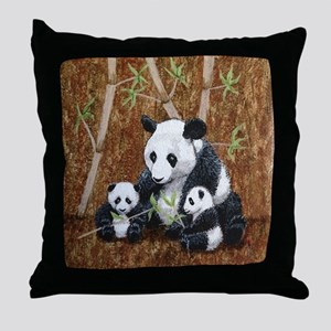 StephanieAM Panda and Cubs Throw Pillow