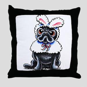 Grumpy Pug Bunny Throw Pillow