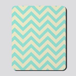 Yellow and turquoise chevrons 1 Mousepad
