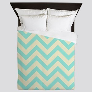 Yellow and turquoise chevrons 1 Queen Duvet