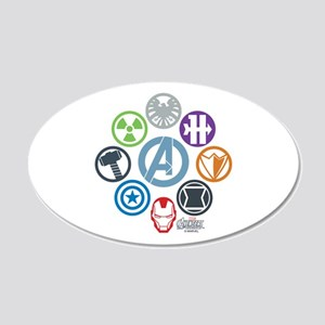 Avengers Icons 20x12 Oval Wall Decal