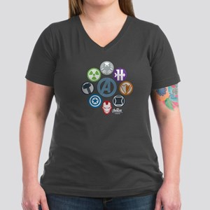 Avengers Icons Women's V-Neck Dark T-Shirt
