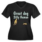 Silly Human Women's Plus Size V-Neck Dark T-Shirt