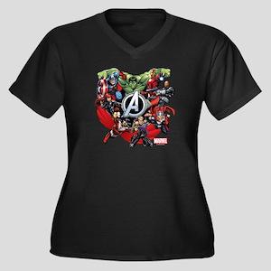 Avengers Gro Women's Plus Size V-Neck Dark T-Shirt
