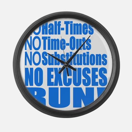 No Half Times, Time Outs, Subs Ru Large Wall Clock