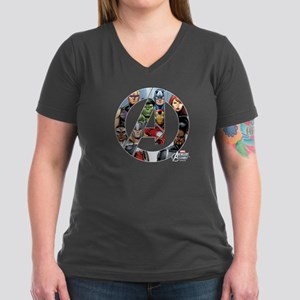Avengers Assemble Women's V-Neck Dark T-Shirt