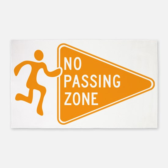 No Passing Zone Sign Running 3'x5' Area Rug