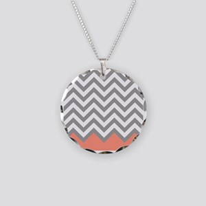 Grey and Coral Chevrons Necklace Circle Charm