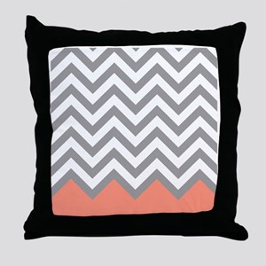 Grey and Coral Chevrons Throw Pillow