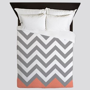 Grey and Coral Chevrons Queen Duvet