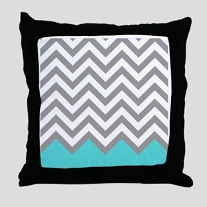 Grey and turquoise pattern 2 Throw Pillow