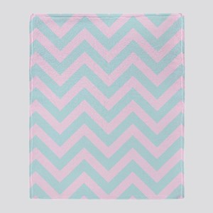 Pink and blue chevrons 1 Throw Blanket