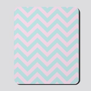 Pink and blue chevrons 1 Mousepad