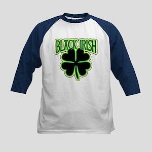 Black Irish with Huge Shamrock Kids Baseball Jerse