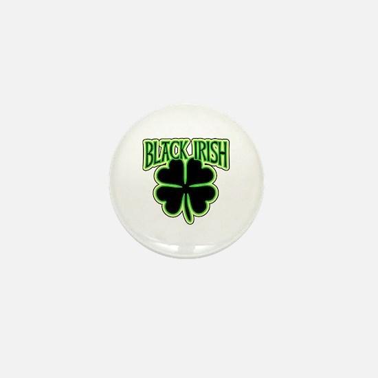Black Irish with Huge Shamrock Mini Button