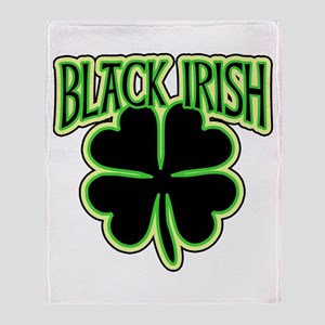 Black Irish with Huge Shamrock Throw Blanket