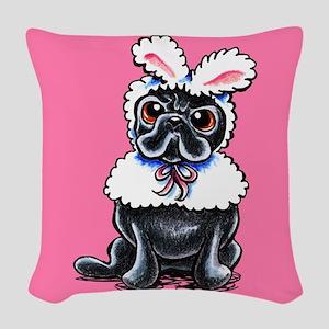 Grumpy Pug Bunny Pink Woven Throw Pillow