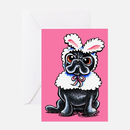 Grumpy Pug Bunny Pink Greeting Cards