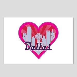 Dallas Skyline Sunburst Heart Postcards (Package o