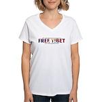 For A Free Tibet: Women's V-Neck T-Shirt (f&B)