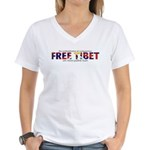 For A Free Tibet: Women's V-Neck T-Shirt (f&B)