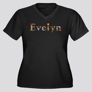 Evelyn Bright Flowers Plus Size T-Shirt