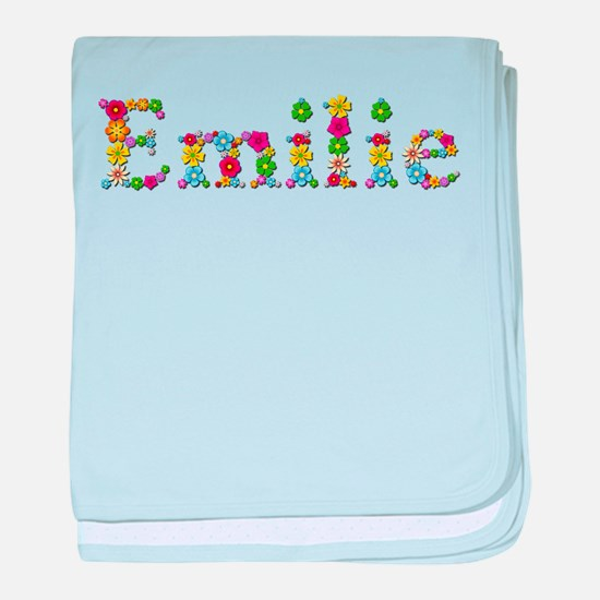 Emilie Bright Flowers baby blanket