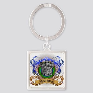 Rodriguez Family Crest Square Keychain