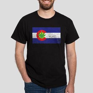 Colorado State Flag, Marijuana, Pot Leaf Dark T-Sh