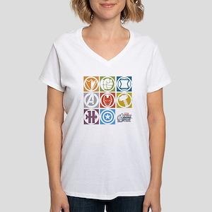 Avengers Squares Women's V-Neck T-Shirt