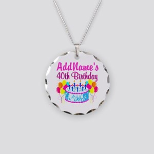 40TH PARTY Necklace Circle Charm