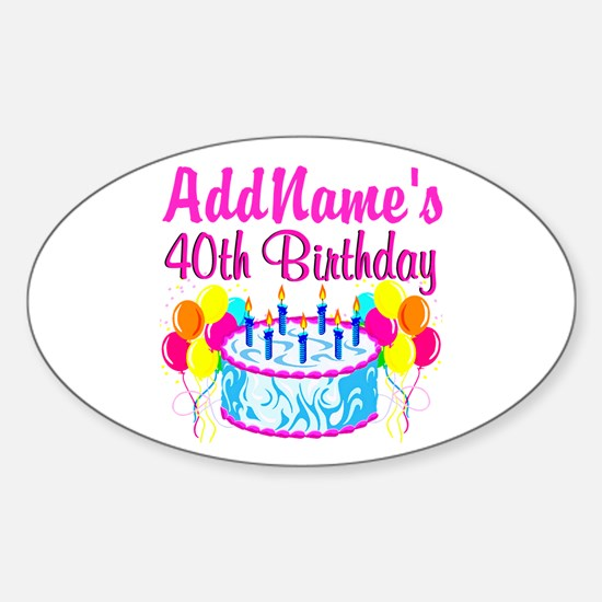 40TH PARTY Sticker (Oval)