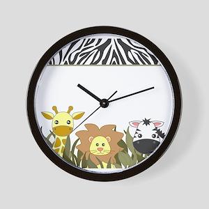 Cute Jungle Safari Animals Wall Clock