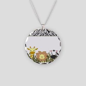 Cute Jungle Safari Animals Necklace Circle Charm