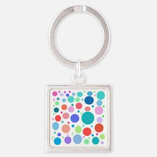 Multi Colored Polka Dots Square Keychain