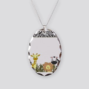 Cute Jungle Safari Animals Necklace Oval Charm