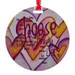 Love Hearts + Poem Words Round Ornament