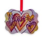 Love Hearts + Poem Words Picture Ornament