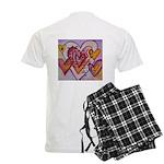 Love Hearts + Poem Words Men's Light Pajamas