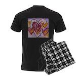 Love Hearts + Poem Words Men's Dark Pajamas