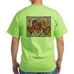 Love Hearts + Poem Words Green T-Shirt