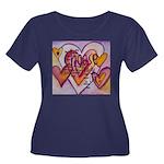 Love Hea Women's Plus Size Scoop Neck Dark T-Shirt