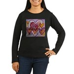 Love Hearts + Poe Women's Long Sleeve Dark T-Shirt