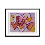 Love Hearts + Poem Words Framed Panel Print