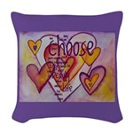 Love Hearts + Poem Words Woven Throw Pillow