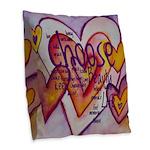 Love Hearts + Poem Words Burlap Throw Pillow