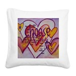 Love Hearts + Poem Words Square Canvas Pillow