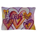Love Hearts + Poem Words Pillow Case