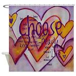 Love Hearts + Poem Words Shower Curtain