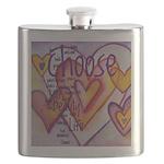 Love Hearts + Poem Words Flask
